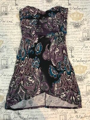 FREE PEOPLE Purple Paisley Structured Sleeveless Tube Top Empire Waist Size XS - Paisley Tube Top