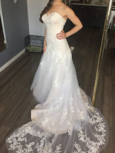 Wedding Dress - Excellent Condition, lace with train