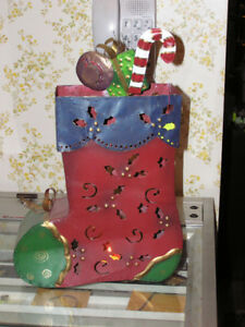 Large Painted Steel Christmas Stocking Candle Lamp