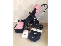 Immaculate bugaboo cameleon 3 black and pale pink, not a single Mark on frame or fabrics