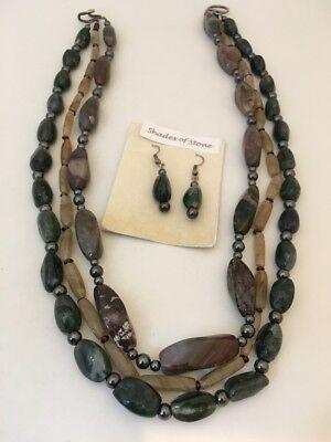 Natural Gem Stone Multi color 3 Strand  Necklace & Earring 723 Multi Gem 3 Strand