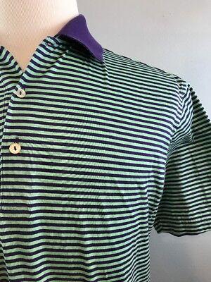 Peter Millar Green   Purple Striped Ss Golf Polo Shirt Mens Medium 100  Cotton