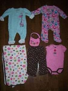 Girls Sleepers & Outfit 6-9 months