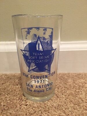 1971 Texas Soft Drink Association 81st Convention San Antonio Alamo City Glass