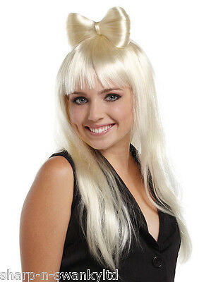 Damen Sexy Lang Blond Haarschleife Lady Gaga PROMI KOSTÜM PERÜCKE