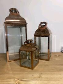 3x Copper Lantern Set