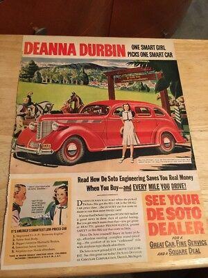 Vintage 1938 Magazine Ad - DeSOTO AUTOMOBILE - DEANNA DURBIN