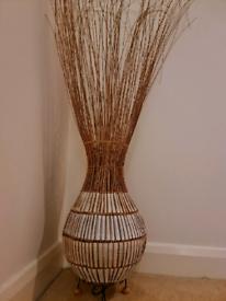 Wicker basket style floor lamp