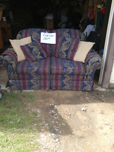 Loveseat, antique chair, sewing machine cabinet