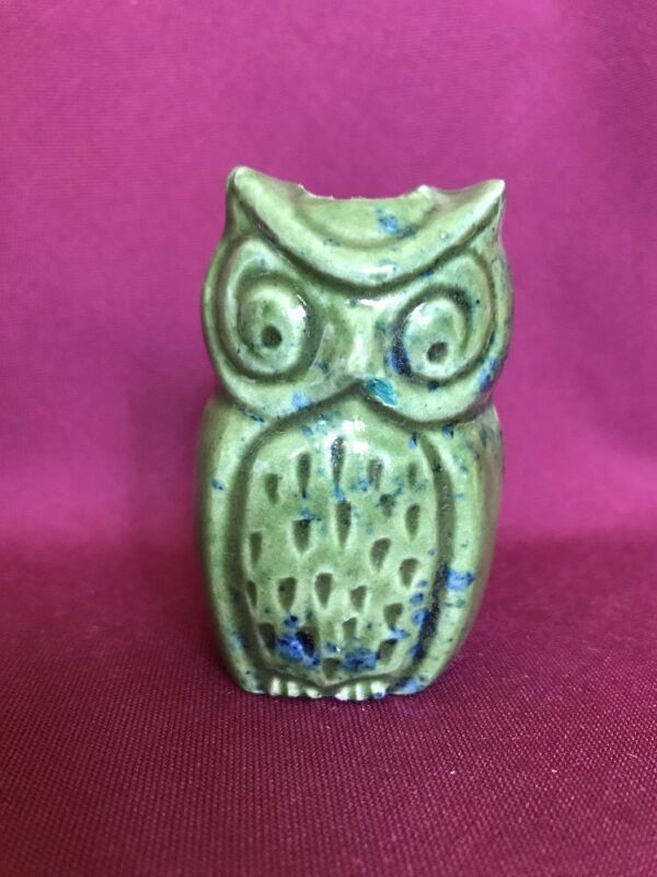 "3"" Tall Vintage Ceramic Macrame Beads Green Owls New Old Stock"