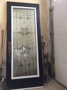 """Steel entry door with leaded glass 32"""" by 80"""""""