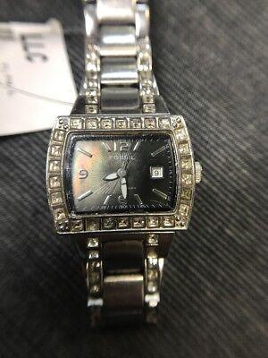 Fossil Analog Glitz Black Dial watch #AM4132 (USED) Free Ship Analog Glitz Black Dial
