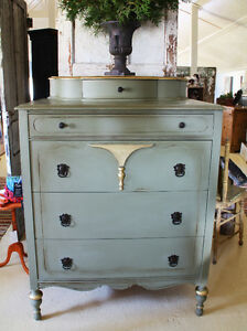 ANTIQUE DRESSER, REFINISHED & HAND PAINTED, FRENCH COUNTRY STYLE