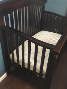 Crib and Mattress with covers and sheets