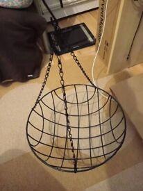 black metal wire hanging basket 35cm gardening decoration