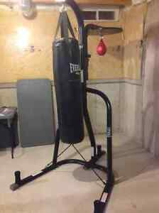 Everlast punching bag, stand and speed bag