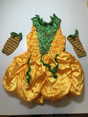 A Pumpkin Halloween Costume (GIRL'S Child Pumpkin Costume Dress Orange Green Size XL 12/14 HALLOWEEN)