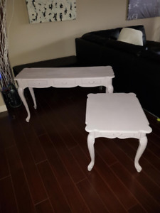 Beautiful refurbished pastel purple, hand painted tables