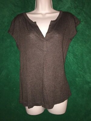 Jcp Brown Soft Jersey V Neck Top Small Stretch Fabric