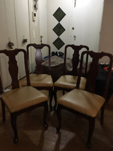 Urgent Sale!! $290 Bombay Wooden and Leather Dining Chairs