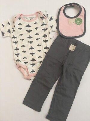 Burts Bees Baby Girl Organic Bodysuit Pants Bib Set Pink Grey Size 18 24 Months