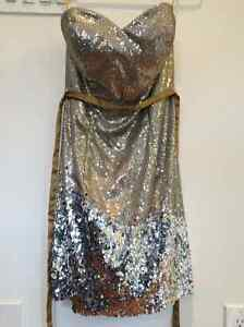 Strapless Sequined Evening Gown - Size 6