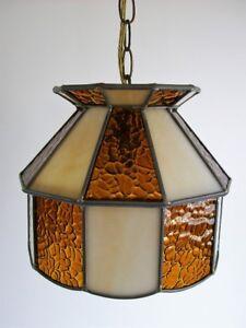 Petite Lampe Vintage Suspendue - Vintage Hanging Slag Glass Lamp
