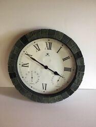 Infinity Instruments Inca Indoor Outdoor Clock With Gray Slate Mosaic Border