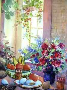 """A Morning Table by Nell LaMarsh """"Morning, By the Window"""" 1970's Stratford Kitchener Area image 3"""