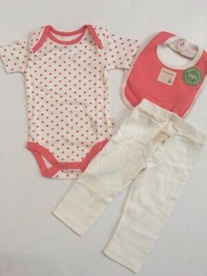 Burts Bees Baby Girl Organic Bodysuit Pants Bib Size 3 6 24 Months Layette Peach