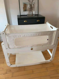 SnuzPod 2 bedside crib in white with mattress