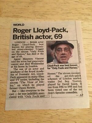 Obituary - ROGER LLOYD-PACK  - 1/17/14  -  NEWSDAY Newspaper Clipping