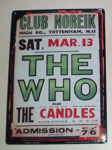 Set of 2 Tin Rock Memorabilia Signs of The Who and The Beatles