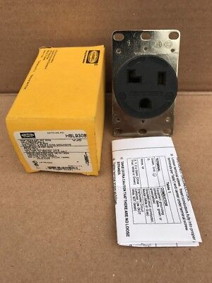 Hubbell 2-pole 3-wire Grounding Receptacle 30a 125v 5-30r Black - Hbl9308
