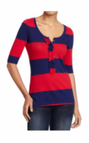 Women's Old Navy red and blue striped henley shirt Small NWT