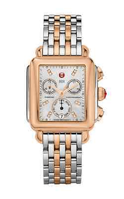NEW MICHELE SIGNATURE DECO ROSE TWO TONE MOP DIAMOND DIAL WATCH MWW06P000234