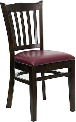 Walnut Wood Frame Vertical Slat Back Restaurant Chair W Burgundy Vinyl Seat