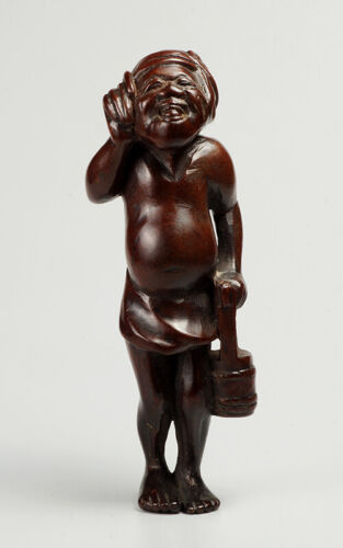 19th century wooden * Farmer with the bucket * Netsuke, unsigned