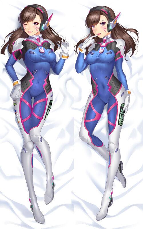 """59/"""" Anime Game Overwatch DVA OW D.Va Dakimakura Hugging Body Pillow Case Cover"""