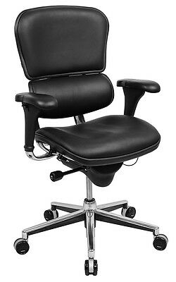 Raynor Ergohuman Mid-back Leather Chair Chrome Frame Black Leather Le10erglo