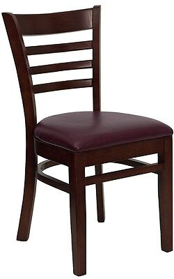 Mahogany Wood Finished Ladder Back Restaurant Chair With Burgundy Vinyl Seat