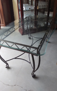 glass top wrought iron base dining table
