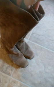Sz 10 Suede Tall Wedge Boots PAID $170  today $20