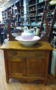 ***ANTIQUE  WASH STAND WITH HARP TOWEL BAR FOR SALE***