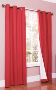 Crimson Red Blackout Thermal Curtain Panels - Like New