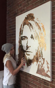 Kurt Cobain (Nirvana) - Rose Gold Leaf Painting