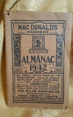 Macdonalds Farmers Almanac 1942 Jeremiah Macdonald Binghamton N Y
