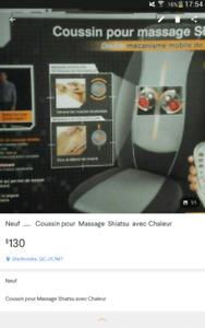 Neuf    Coussin pour Massage  Shiatsu  ( Valeurs $ 230.00 )