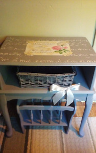 Hand Painted Table and Magazine Rack