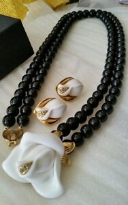 Kenneth J. Lane for Avon signed Midnight Rose necklace and post